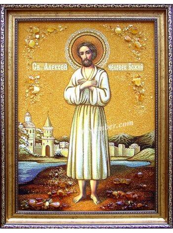 Святий Олексій, Чоловік Божий. Ікона з бурштину.