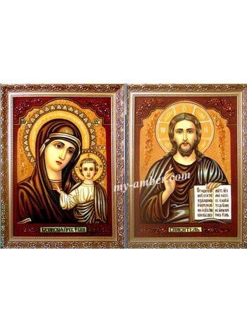 Вінчальна пара з бурштину, Вінчальні ікони, Купити вінчальні ікони з бурштину, Ікони Спасителя і Богородиці,  Ікона Божої Матері